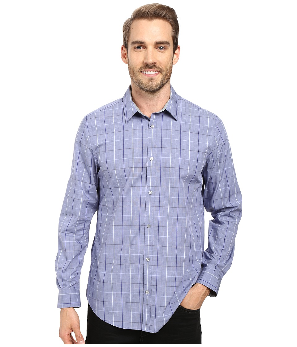 Calvin Klein - Long Sleeve Infinite Cool Large Window Plaid Shirt (Sweet Lavender) Men's Long Sleeve Button Up