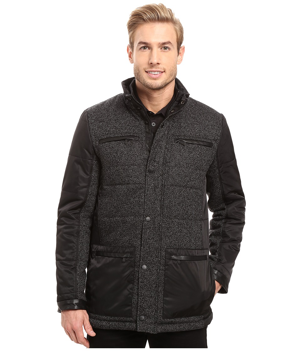 Calvin Klein - Nylon Wool Mix Media Four-Pocket Coat (Pitch Black Heather) Men's Coat
