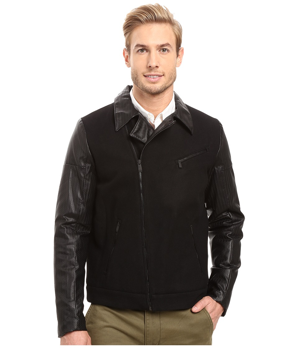 Calvin Klein - Mix Media Wool Moto Jacket (Black) Men's Coat