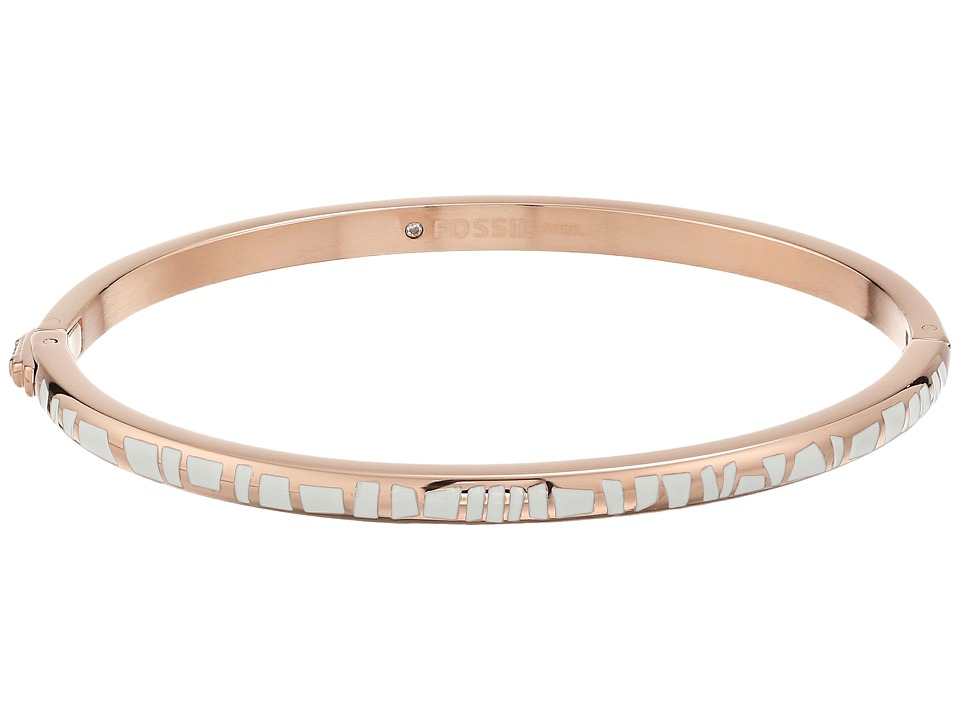 Fossil - Enamel Dipped Bangle (Rose Gold/White) Bracelet