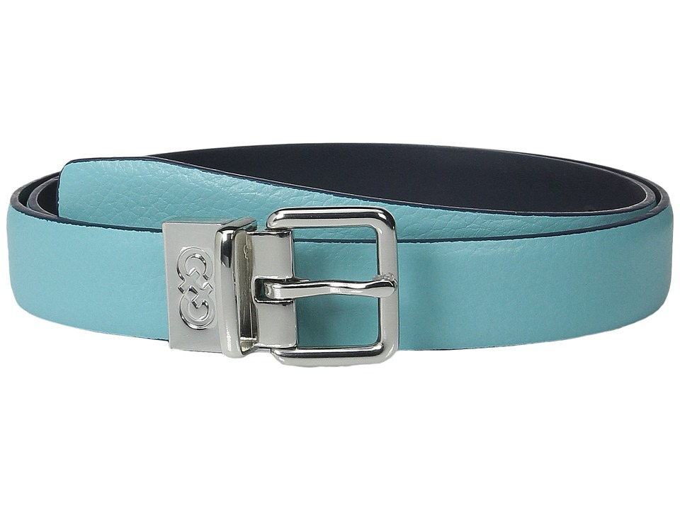 Cole Haan - 25mm Reversible Feather Edge Belt (Aqua/Blue) Women's Belts