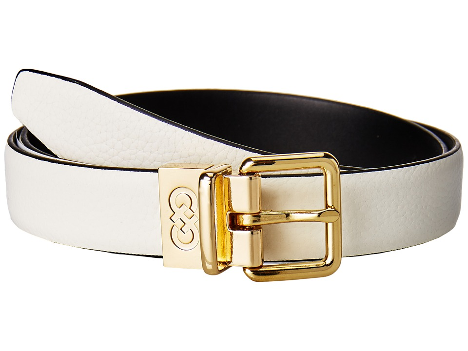 Cole Haan - 25mm Reversible Feather Edge Belt (Ivory/Black) Women's Belts