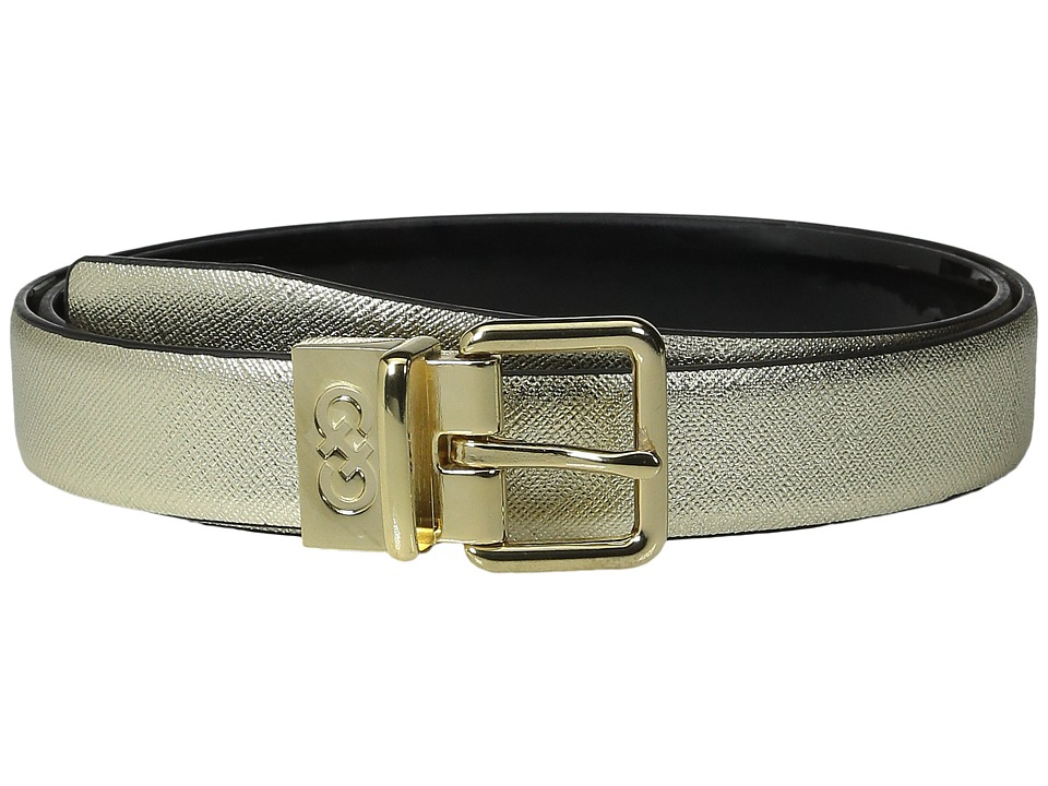 Cole Haan - 25mm Saffiano to Patent Feather Edge Reversible Belt (Gold Saffiano) Women's Belts