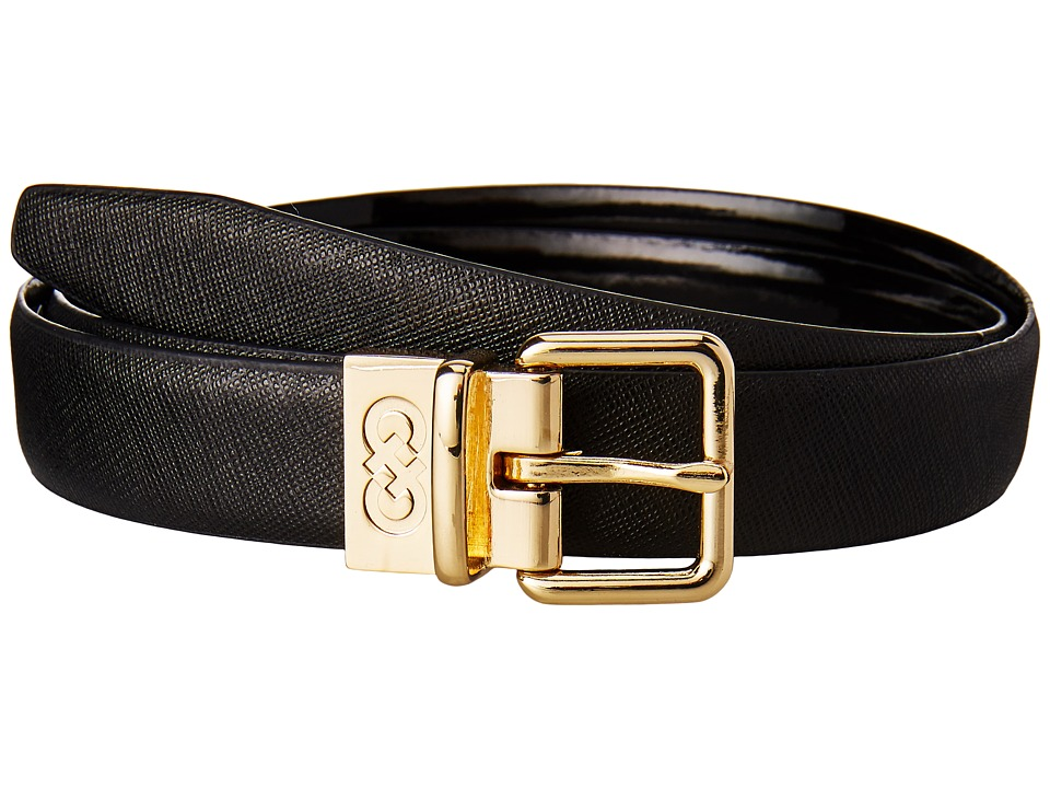 Cole Haan - 25mm Saffiano to Patent Feather Edge Reversible Belt (Black) Women's Belts