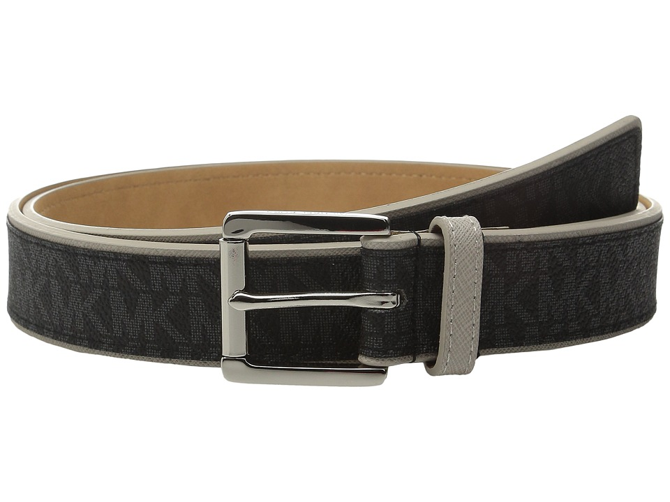 MICHAEL Michael Kors - 32mm Saffiano Belt with Logo PVC Overlay (Cement/Black) Women's Belts