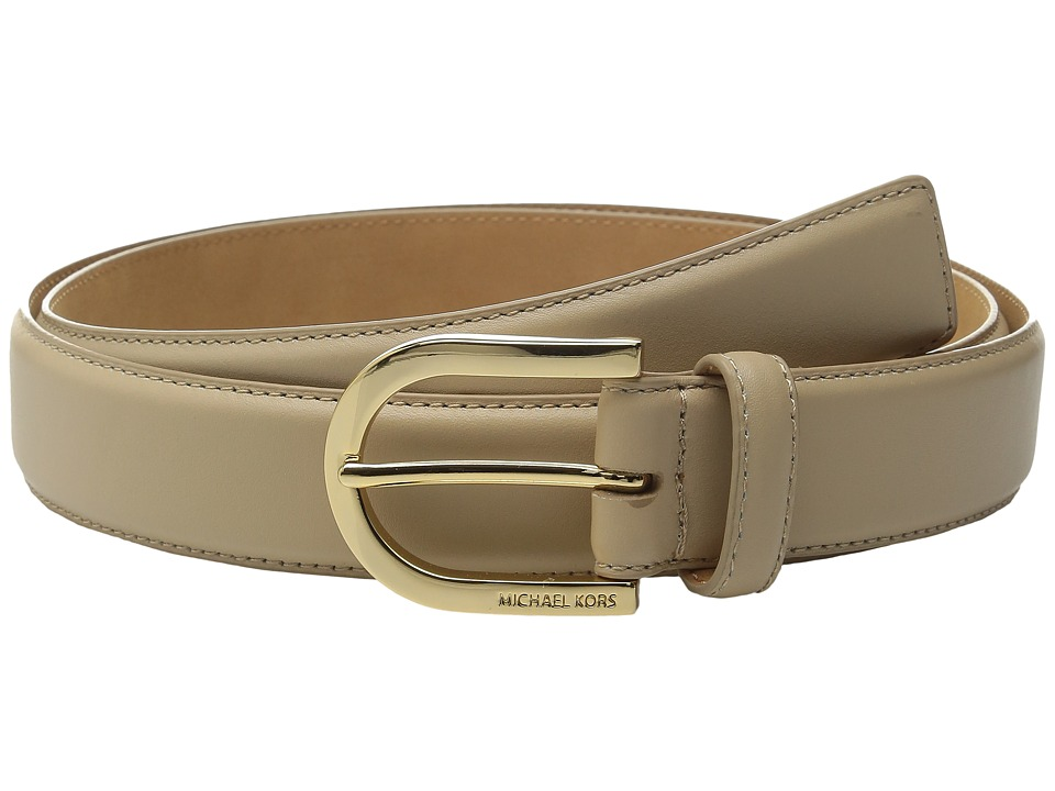 MICHAEL Michael Kors - 32mm Feather Edge Dress Calf Belt with 7 Holes (Bisque) Women's Belts