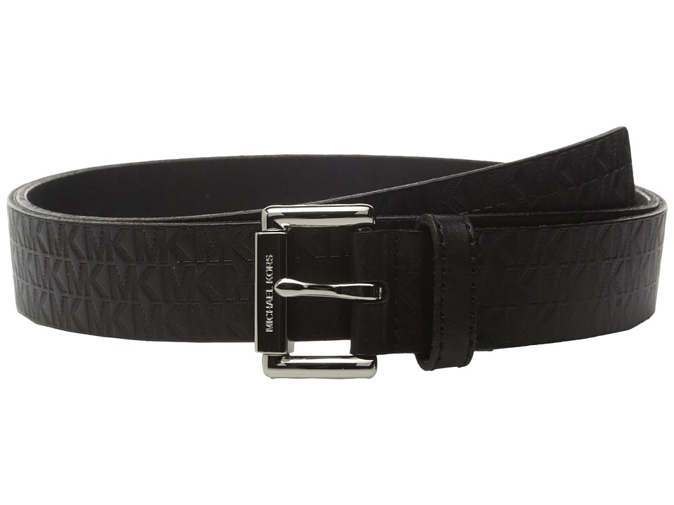 MICHAEL Michael Kors - 32mm Embossed MK Monogram on Roller Buckle Belt (Black) Women's Belts