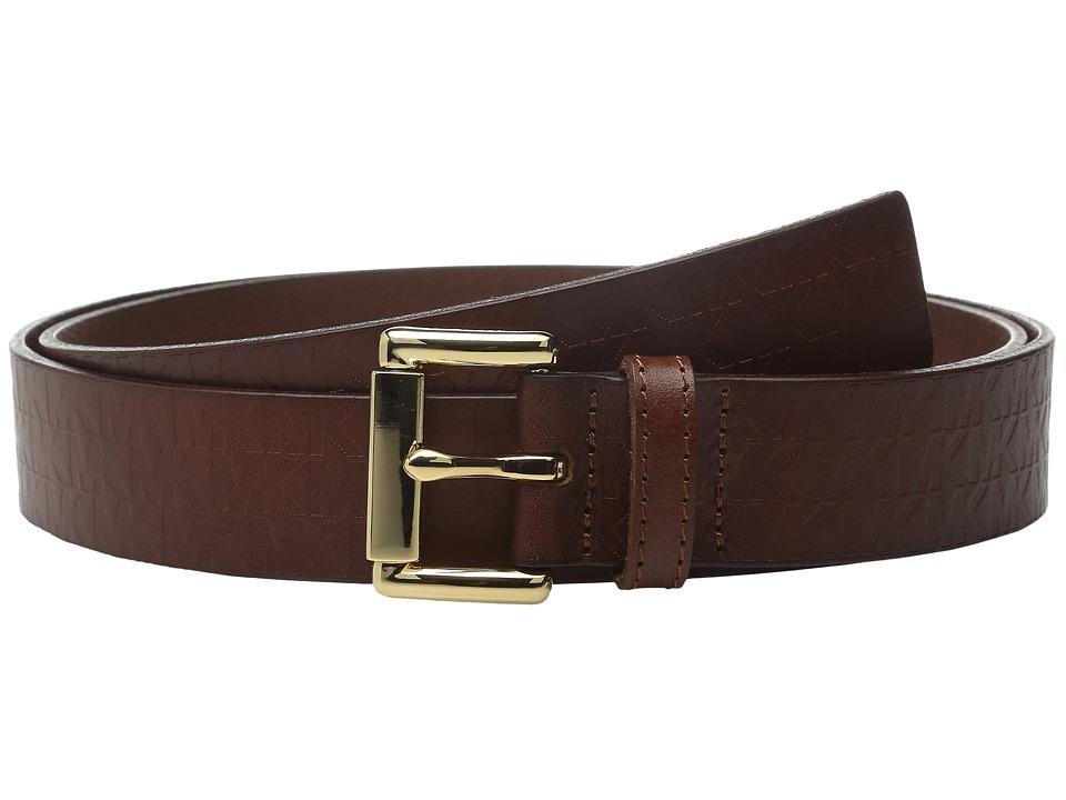 MICHAEL Michael Kors - 32mm Embossed MK Monogram on Roller Buckle Belt (Luggage) Women's Belts