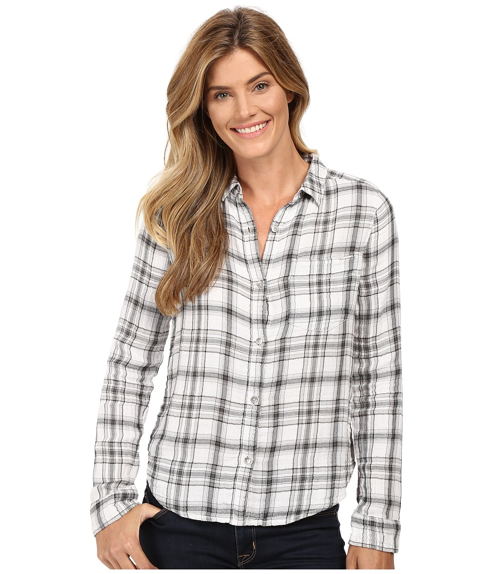 Calvin Klein Jeans - Plaid Crinkle Double Cloth Long Sleeve Woven (Classic White) Women's Long Sleeve Button Up