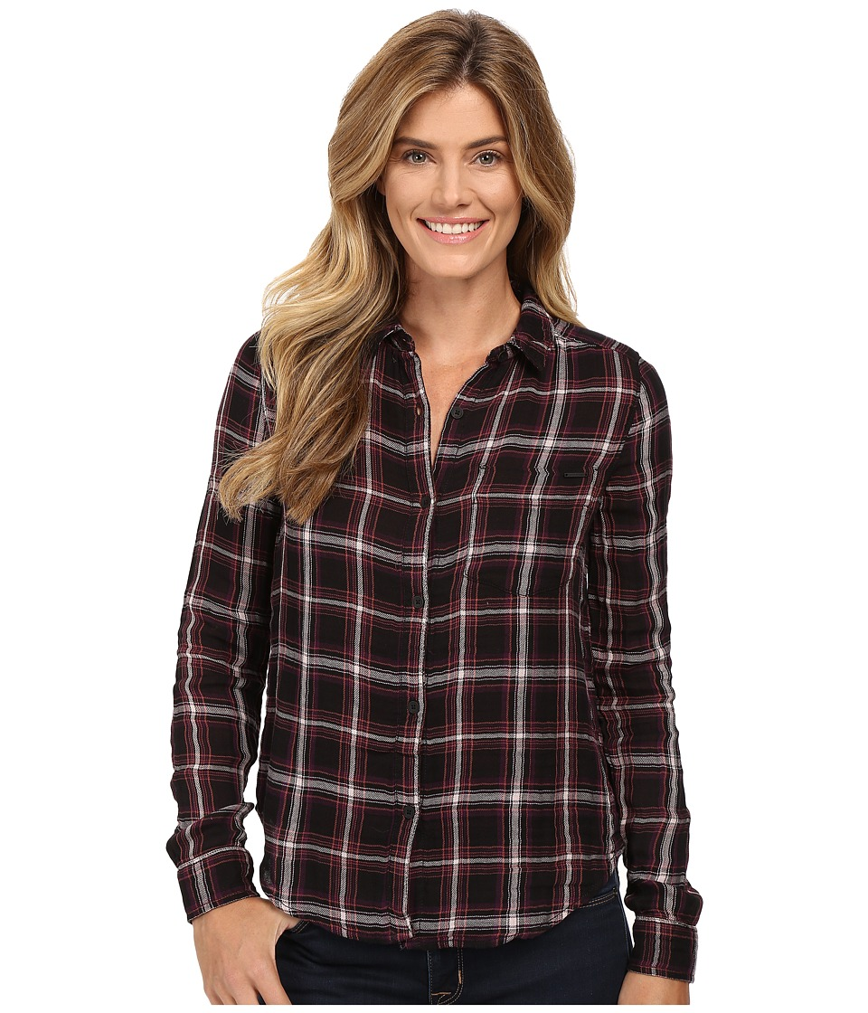 Calvin Klein Jeans - Plaid Crinkle Double Cloth Long Sleeve Woven (Black) Women's Long Sleeve Button Up