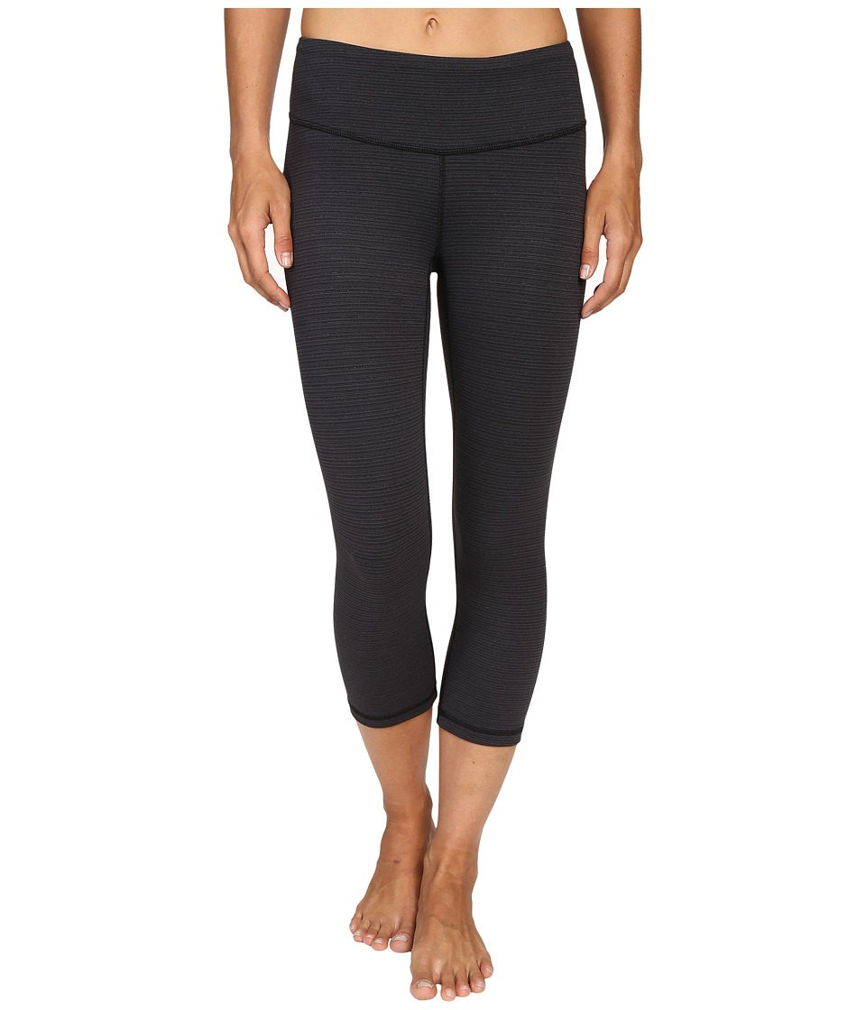 Lucy - Studio Hatha Capri Leggings (Lucy Black Tonal Stripe) Women's Workout