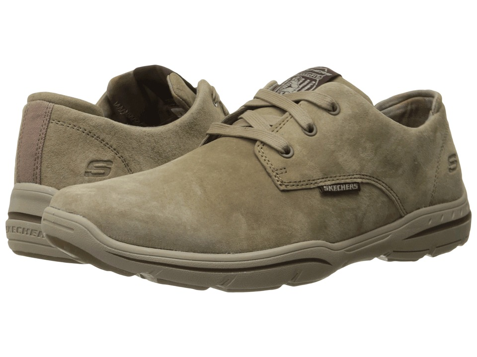 SKECHERS - Relaxed Fit Harper - Epstein (Light Brown Leather) Men's Lace up casual Shoes