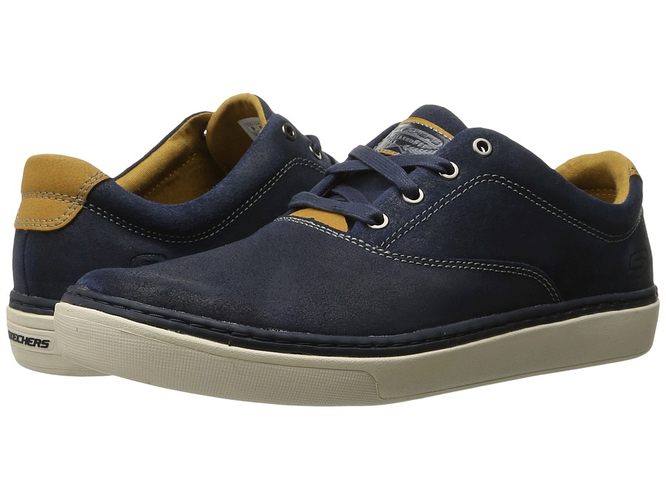 SKECHERS Relaxed Fit Palen Alesco (Navy Leather) Men