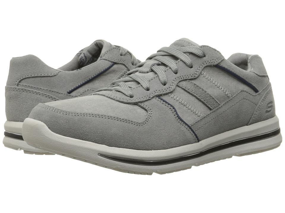 SKECHERS Relaxed Fit Doren Frazer (Gray Suede/Mesh) Men