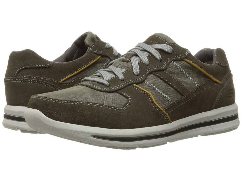 SKECHERS - Relaxed Fit Doren - Frazer (Olive Suede/Mesh) Men's Lace up casual Shoes
