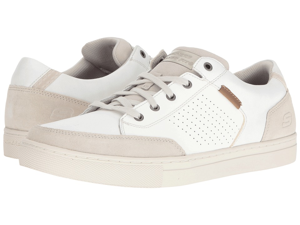 SKECHERS - Relaxed Fit Elvino - Lemen (Off-White Leather) Men's Lace up casual Shoes