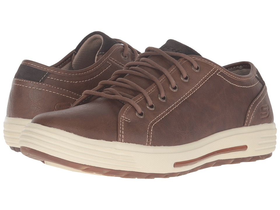 SKECHERS - Relaxed Fit Porter - Ressen (Brown Leather) Men's Lace up casual Shoes