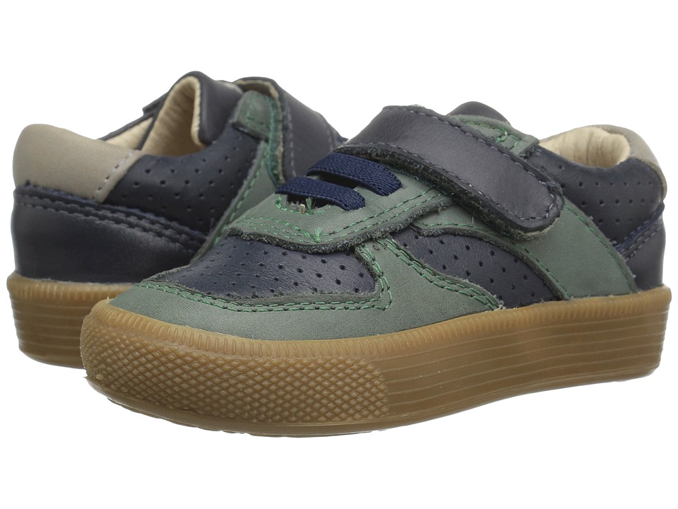 Old Soles - Urban Track Shoe (Toddler/Little Kid) (Distressed Navy/Emerald/Elephant Grey) Boy's Shoes