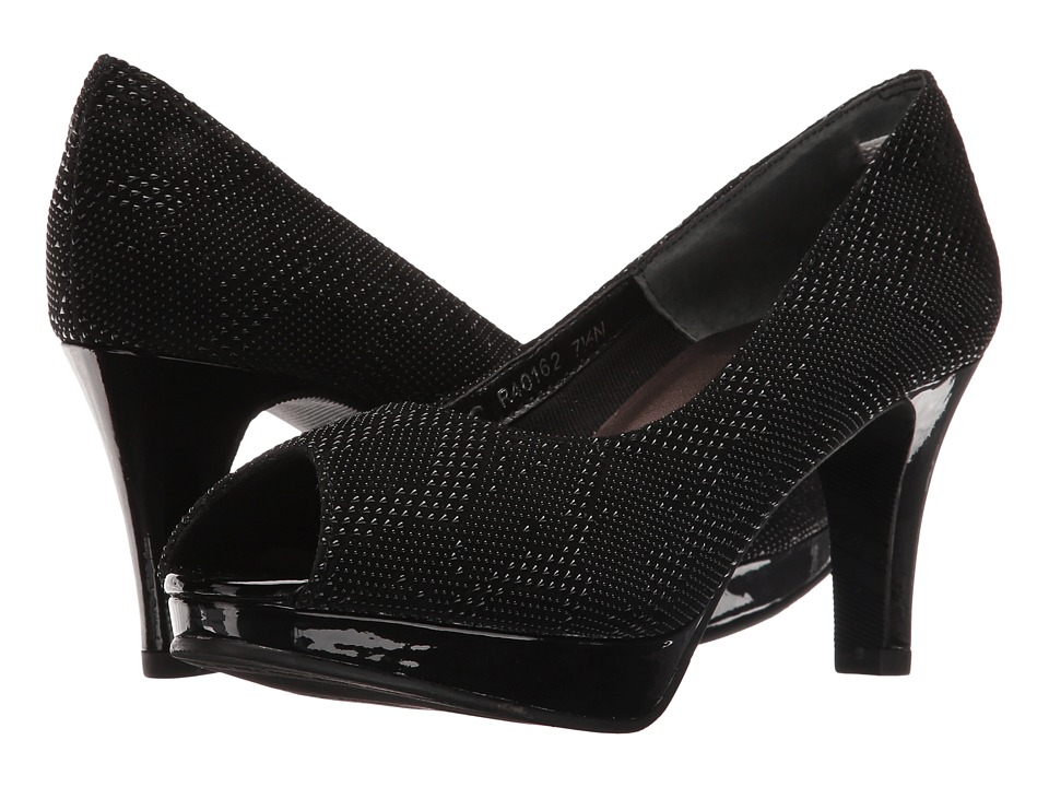 Rose Petals - Prom (Black Teardrop Print/Black Patent) Women's Shoes