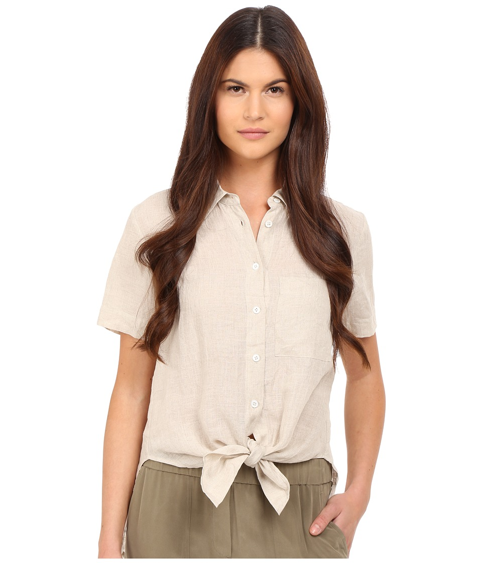 Theory - Hekanina Soft Linen Tie Top (Natural) Women's Clothing