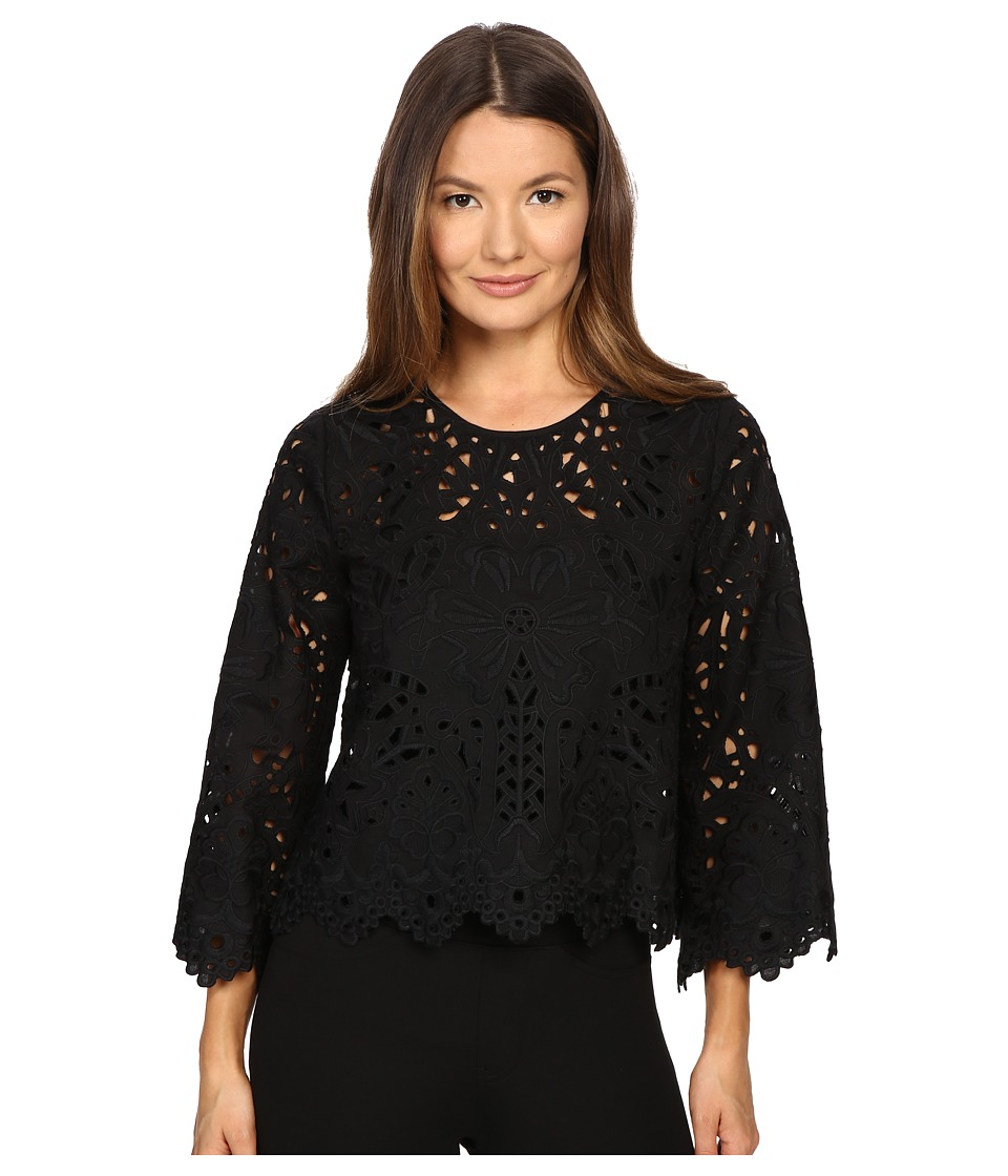 Theory - Brizabela Emroidere Top (Black) Women's Blouse