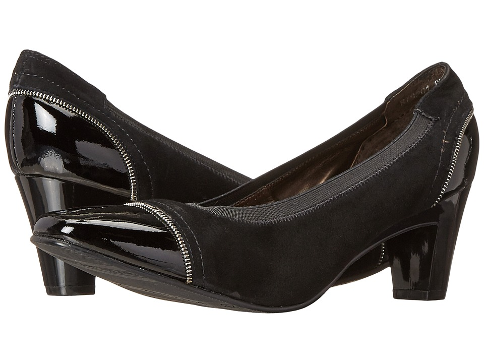 Rose Petals - Regent (Black Suede/Black Patent) Women's Shoes