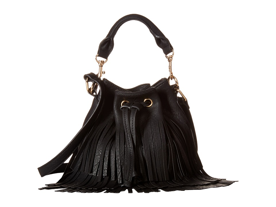 Gabriella Rocha - Theo Fringed Crossbody Bucket Purse (Black) Drawstring Handbags