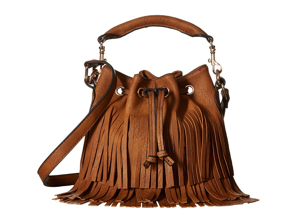 Gabriella Rocha - Theo Fringed Crossbody Bucket Purse (Camel) Drawstring Handbags