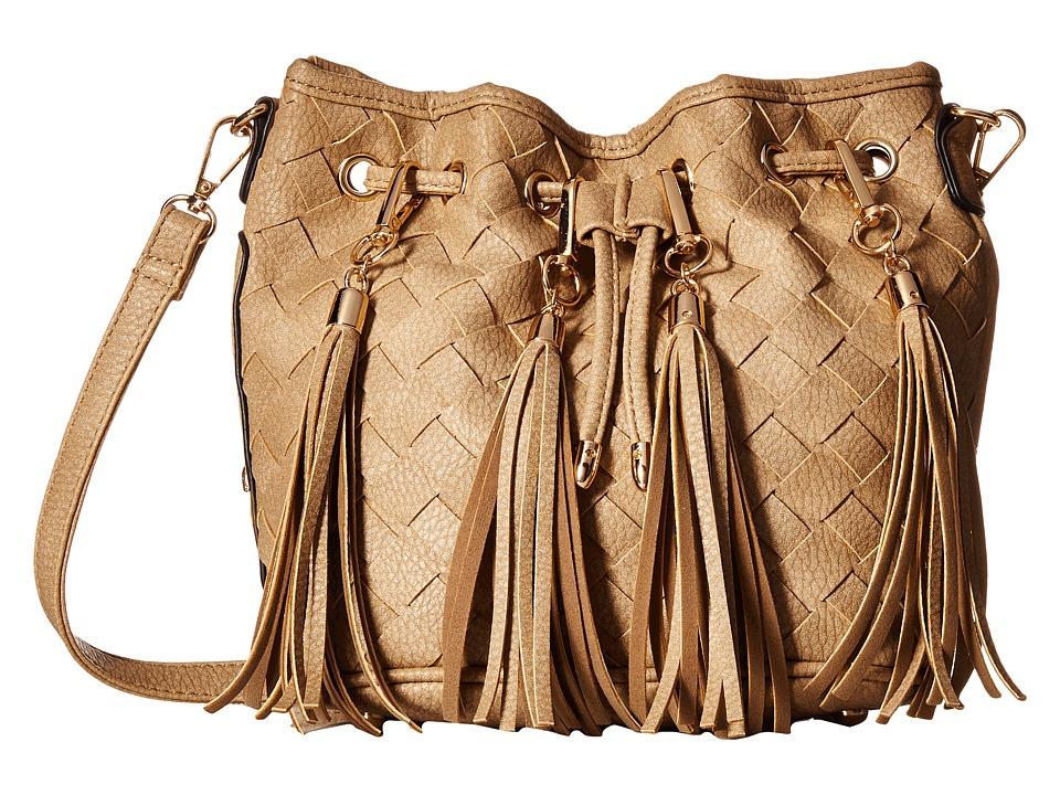 Gabriella Rocha - Portia Woven Bucket Purse with Fringe (Beige) Wallet Handbags