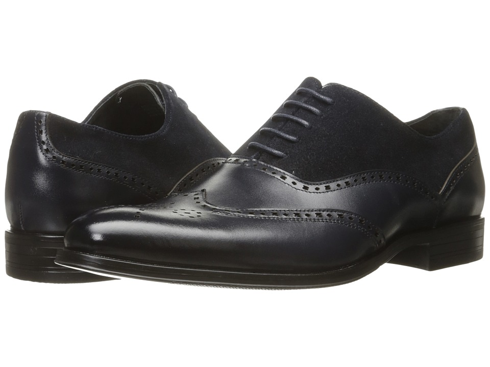 Stacy Adams - Stanbury Wingtip Oxford (Navy) Men's Lace Up Wing Tip Shoes