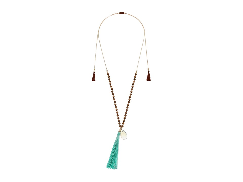 Gabriella Rocha - Wooden Beaded Necklace with Tassel and Jewel (Brown/Teal) Necklace