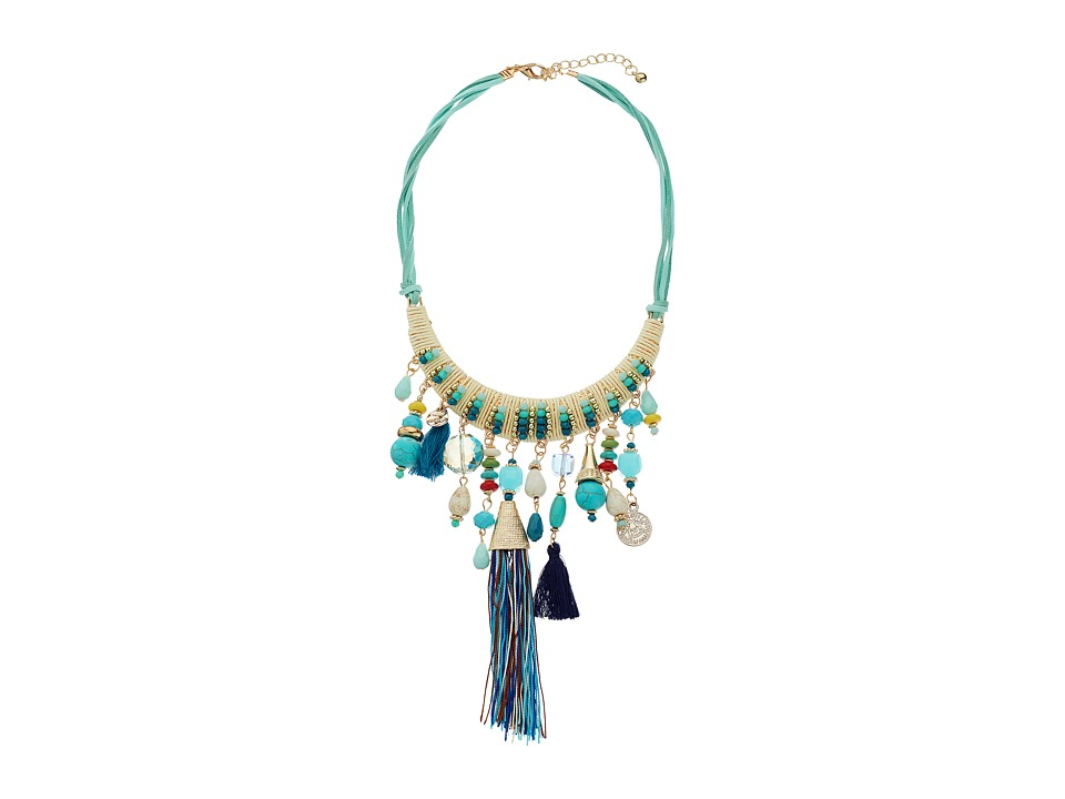 Gabriella Rocha - Choker Necklace with Beads and Tassels (Teal) Necklace