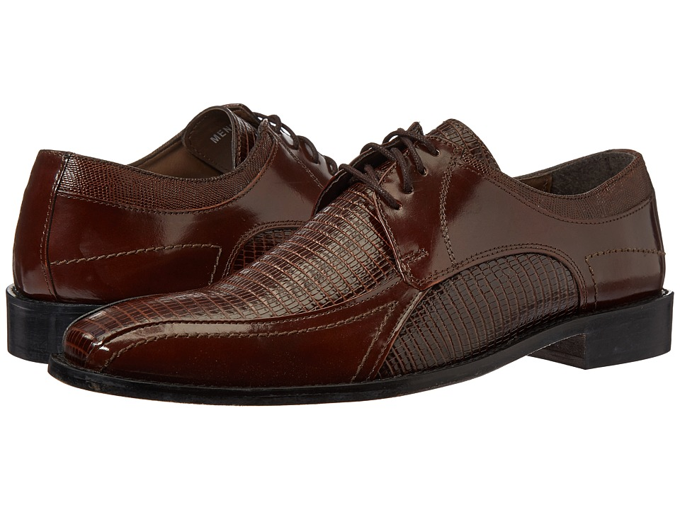 Stacy Adams - Graziano Leather Sole Bike Toe Oxford (Cognac) Men's Lace up casual Shoes