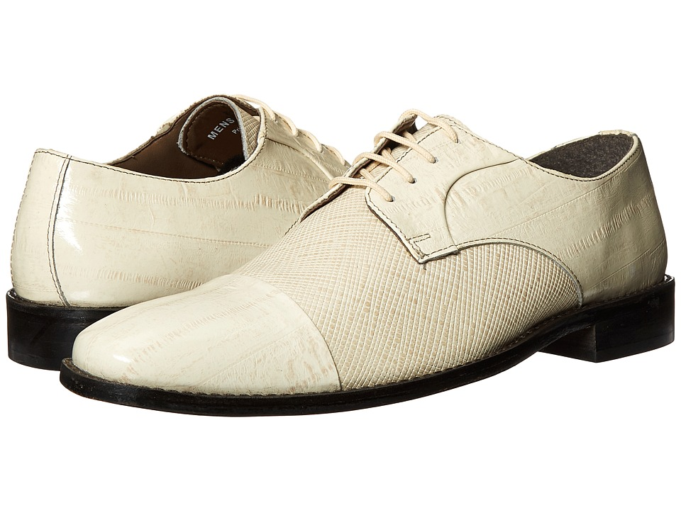 Stacy Adams Gatto Leather Sole Cap Toe Oxford (Ivory) Men
