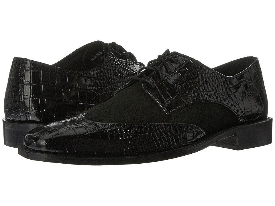 Stacy Adams - Arturo Leather Sole Wingtip Oxford (Black) Men's Lace Up Wing Tip Shoes