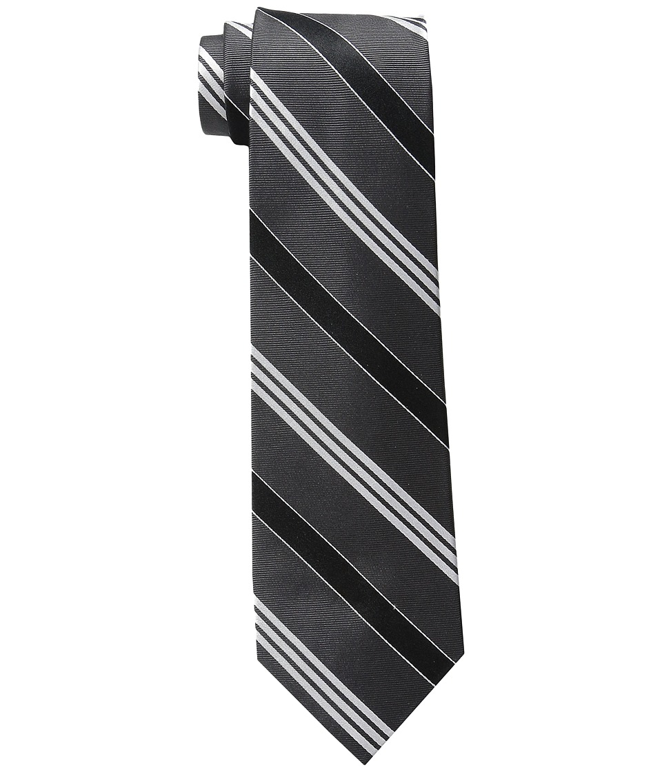 LAUREN Ralph Lauren - Twillsatin Striped Silk Twill Tri-Tie (Charcoal/Black) Ties