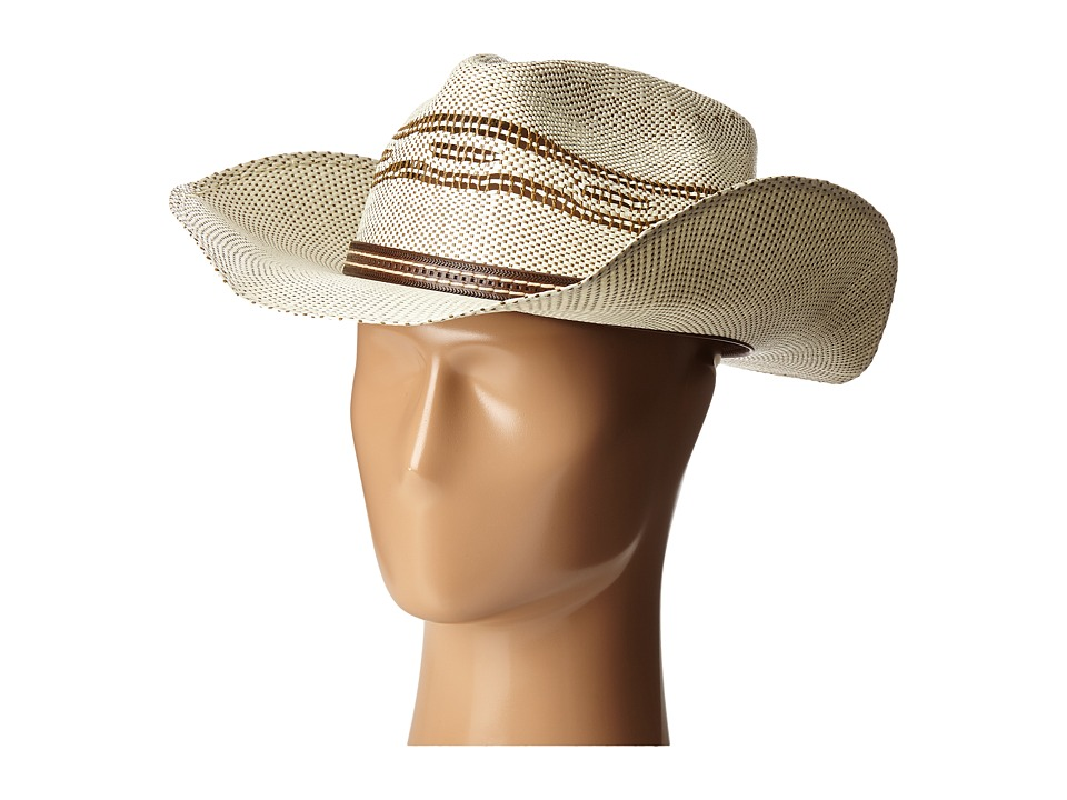 SCALA - Two-Tone Bangora Pinch Front Western (Brown) Caps