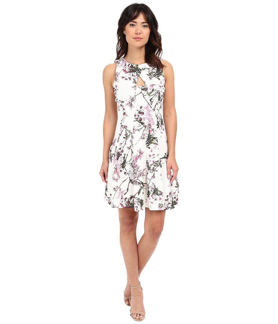 Christin Michaels - Alyssa Keyhole Front Flared Dress (Ivory/Pink) Women's Dress