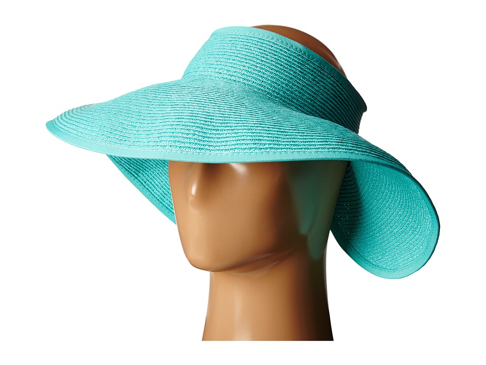 SCALA - Packable Two-Tone Paper Braid Visor (Aqua) Casual Visor