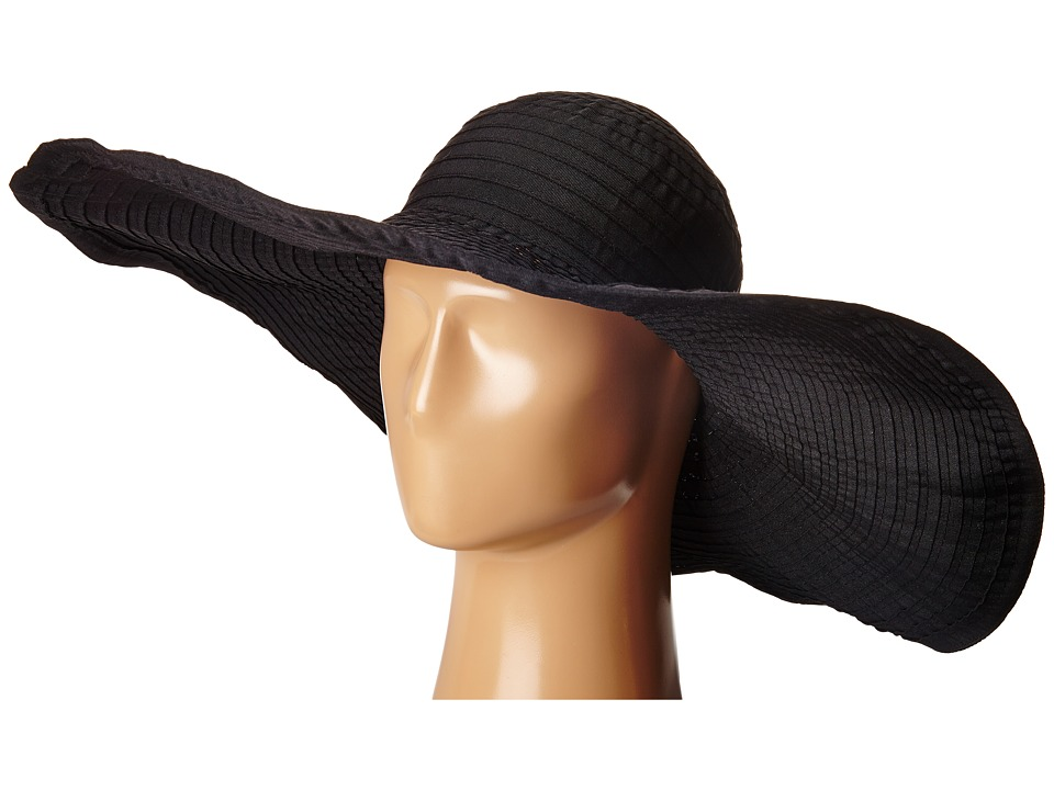 SCALA - Sewn Ribbon Big Brim Pool Hat (Black) Caps