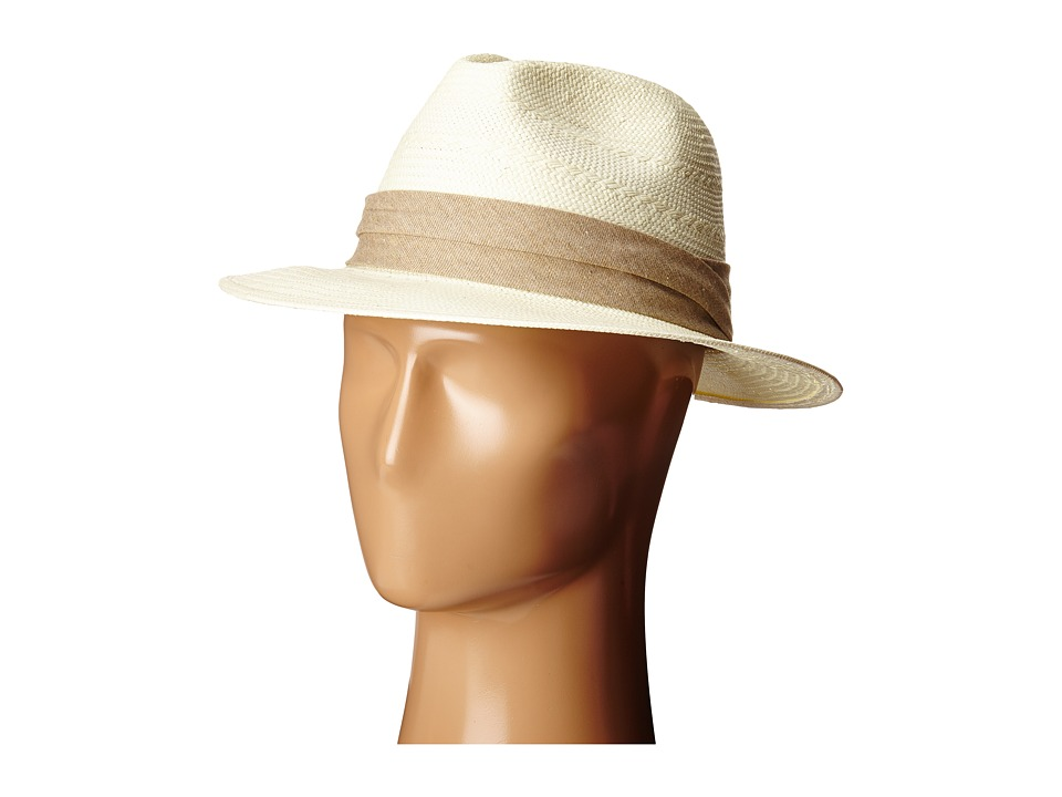 SCALA - Fancy Toyo Fedora with Pleat Cotton Trim (Tan) Caps
