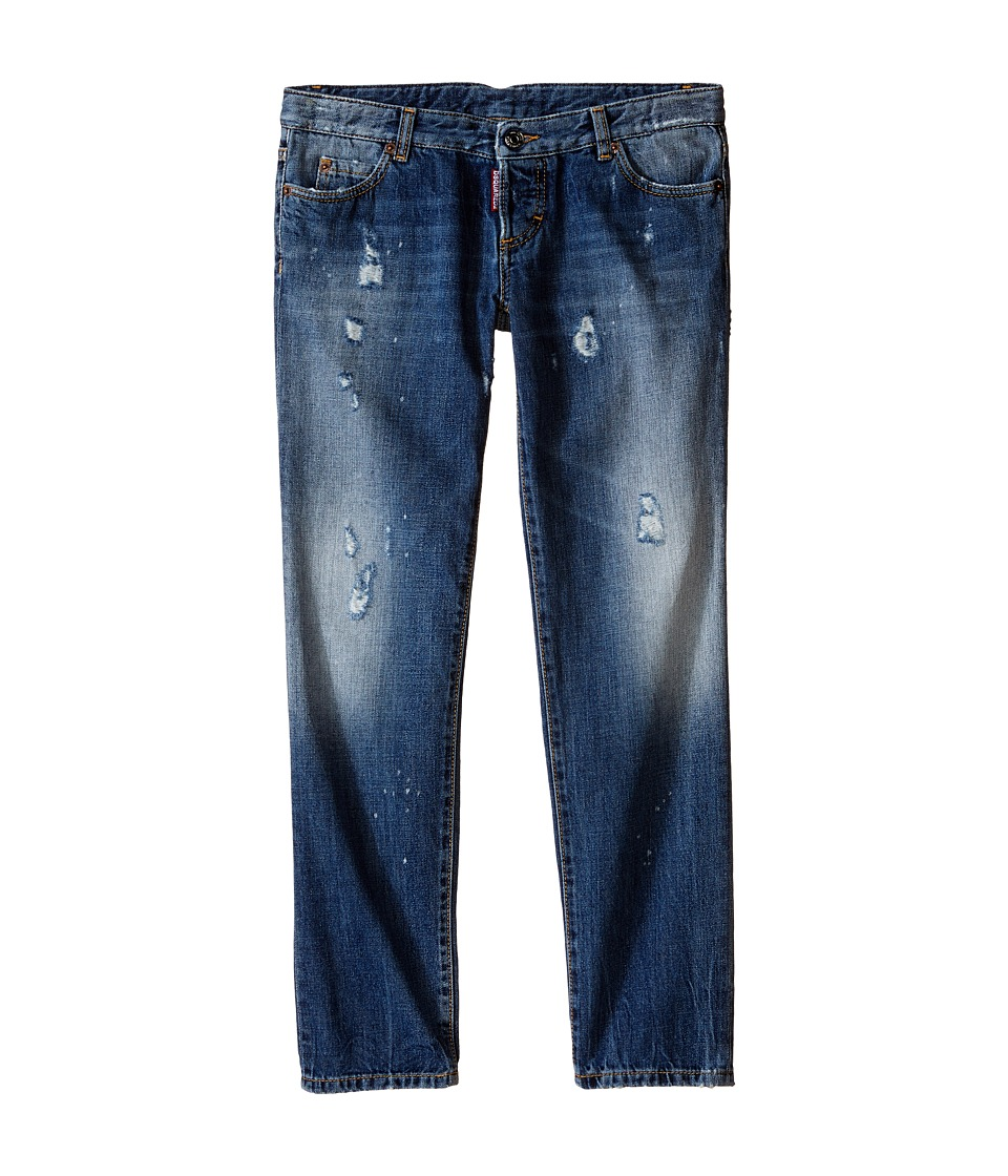 Dsquared2 Kids - Pat Jeans w/ Bleached Spots (Big Kids) (Blue Denim) Boy's Jeans