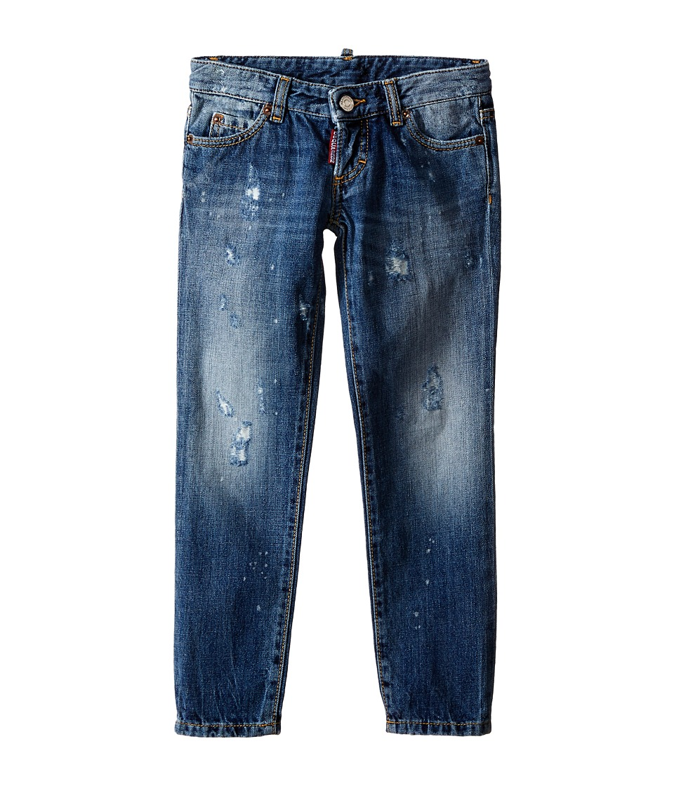 Dsquared2 Kids - Pat Jeans w/ Bleached Spots (Little Kids/Big Kids) (Blue Denim) Boy's Jeans