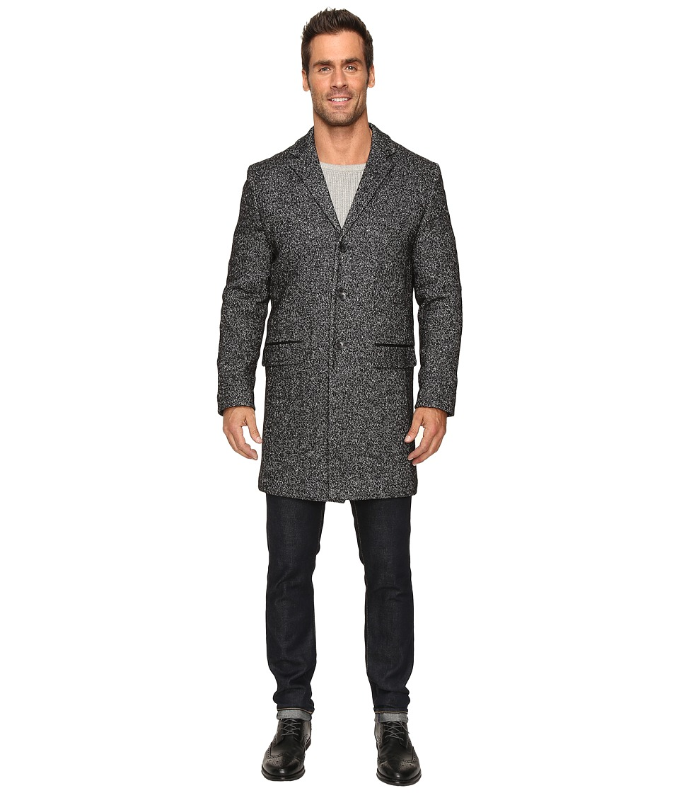 Calvin Klein - Heather Wool 3/4 Length Overcoat (Pitch Black Heather) Men's Coat
