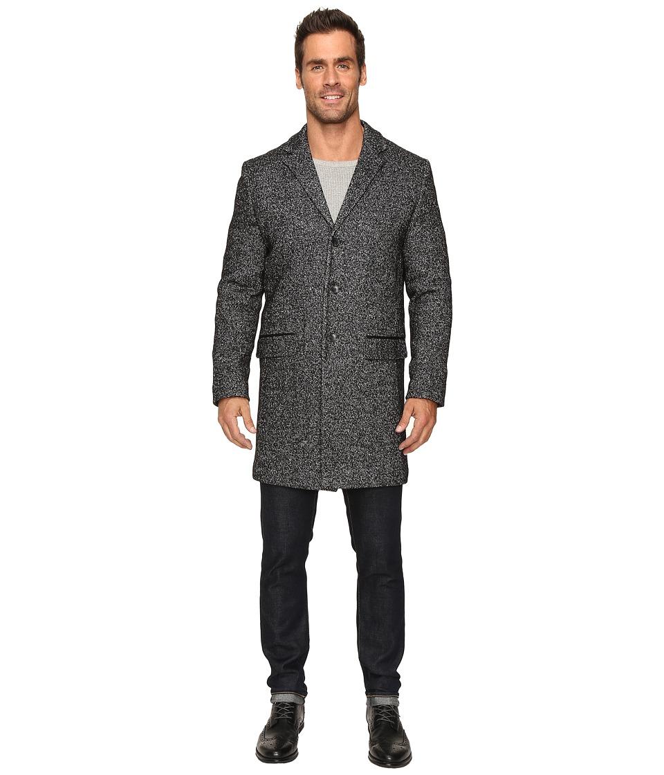 Calvin Klein - Heather Wool 3/4 Length Overcoat (Pitch Black Heather) Men's Coat