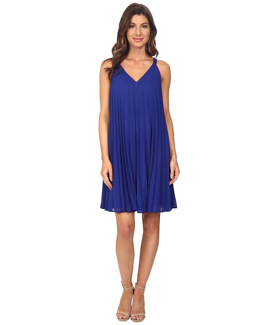 Adrianna Papell - Chiffon Pleated Shift Dress (Iris) Women's Dress