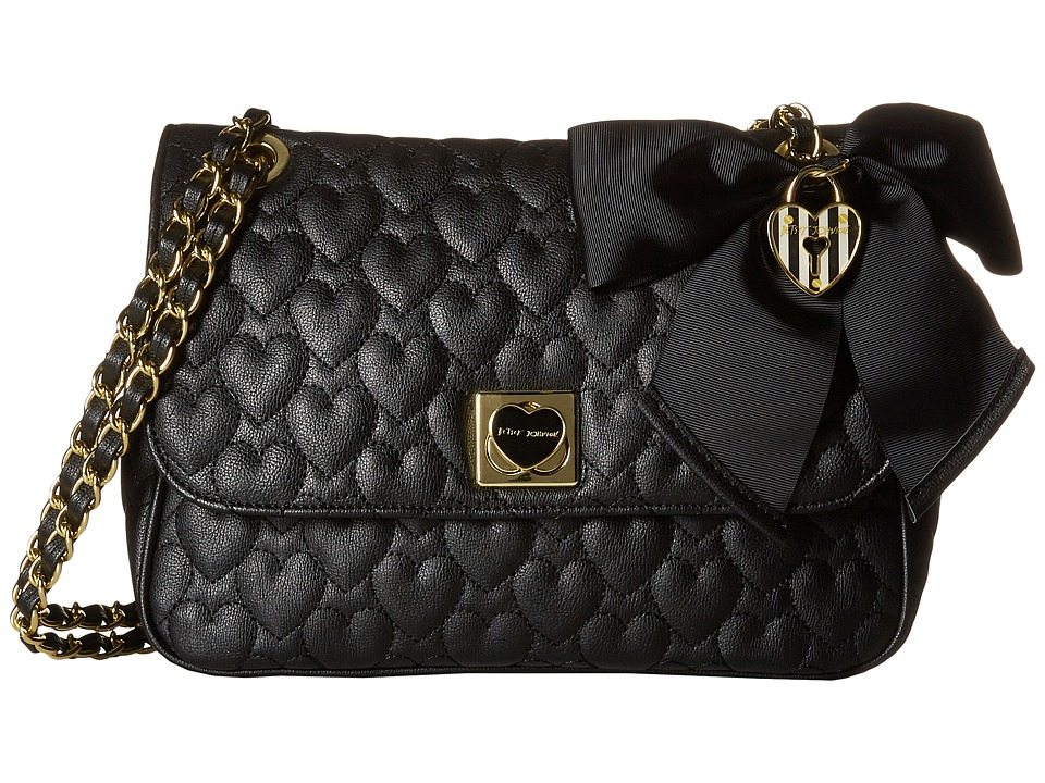 Betsey Johnson - Be Mine Flap Shoulder Bag (Black) Shoulder Handbags