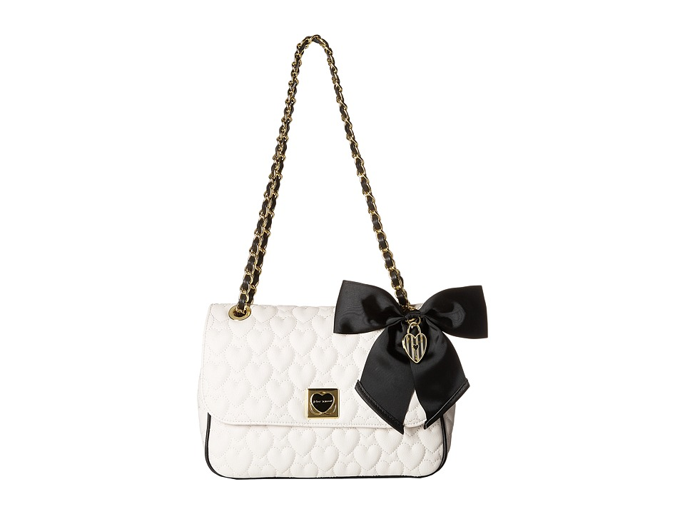 Betsey Johnson - Be Mine Flap Shoulder Bag (Bone/Black) Shoulder Handbags
