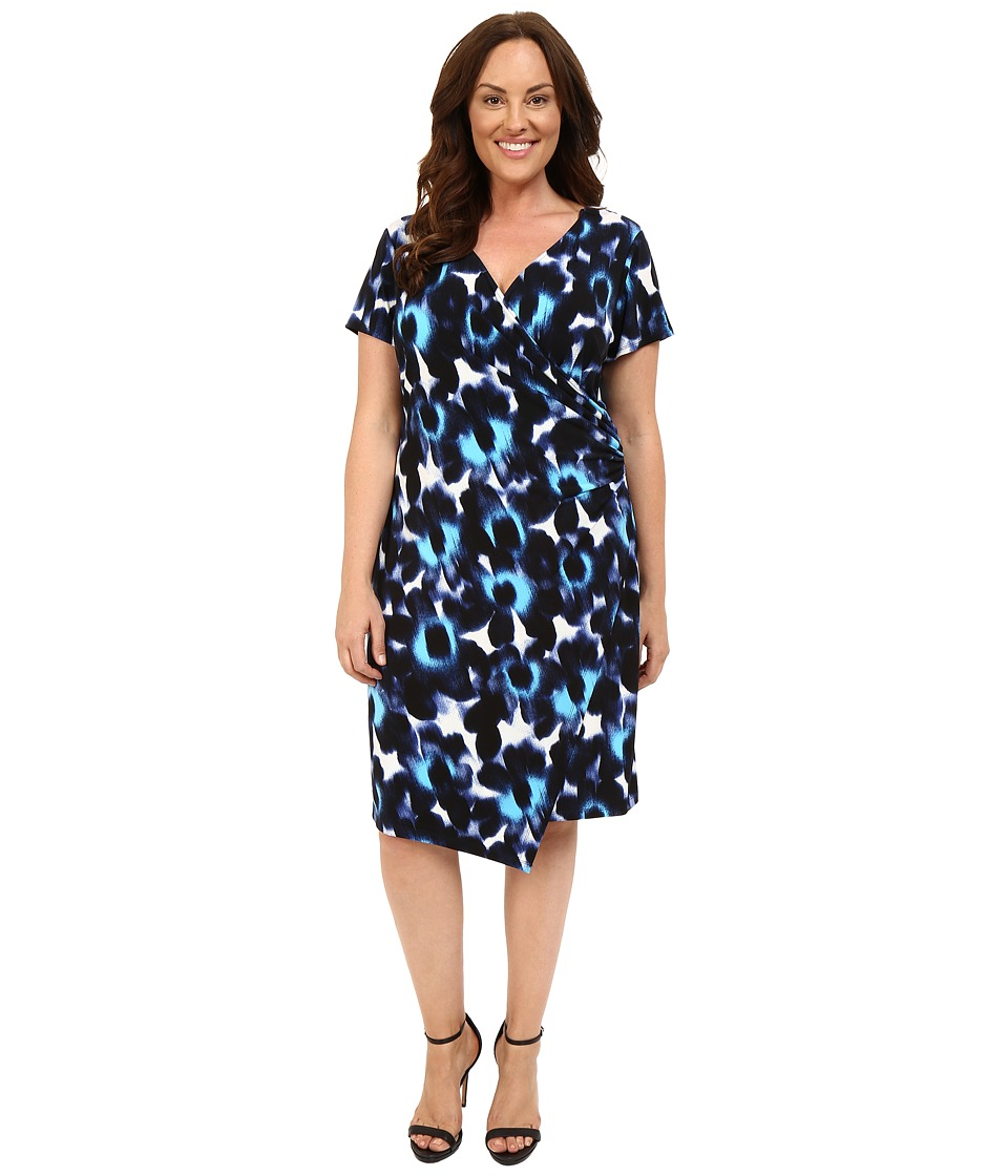 London Times - Plus Size Woodstamp Daisy Side Ruched Dress (Blue) Women's Dress