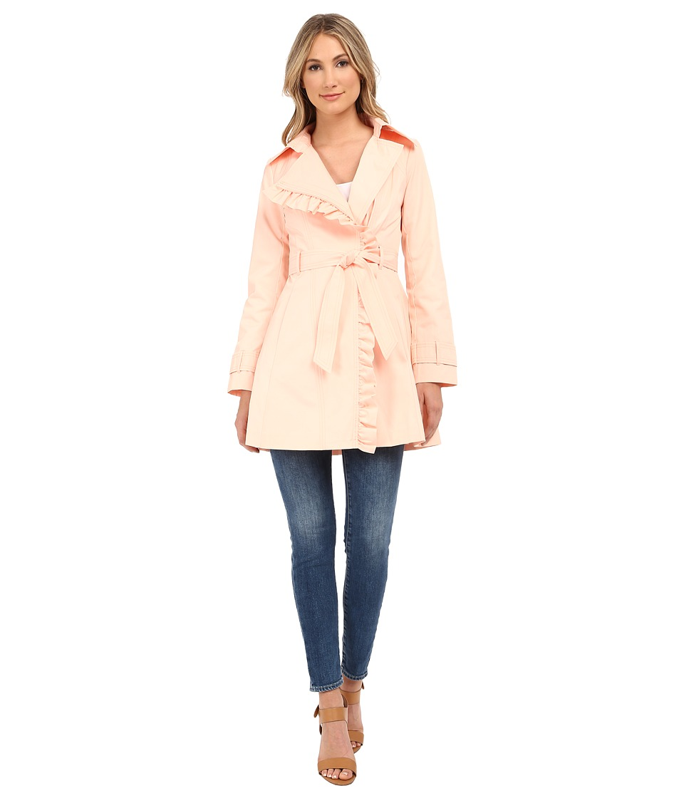 Jessica Simpson - Belted Ruffle Trench (Blush) Women's Coat